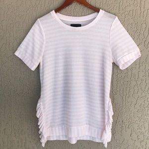Grace Elements, stripe, ruffled, pullover top